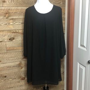 Black Pleione Shift dress with long sleeves